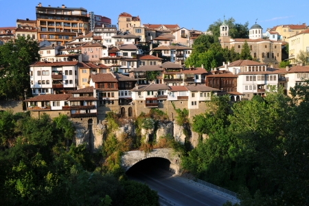 Medieval city of Veliko Tarnovo in Bulgaria at sunset Stock Photo