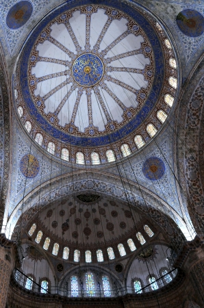 Fragment of Blue mosque (Sultanahmet mosque) interior in Istanbul in Turkey