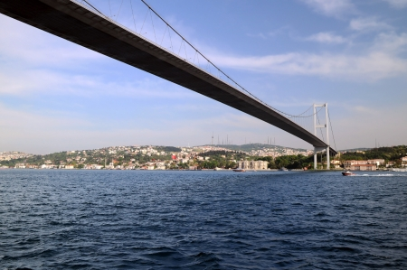 bogazici: Bogazici Bridge (or the First Bosphorus Bridge) in Istanbul that connects European and Asian sides of the city