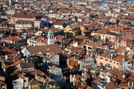Closeup view of Venice from San Marco bell tower photo