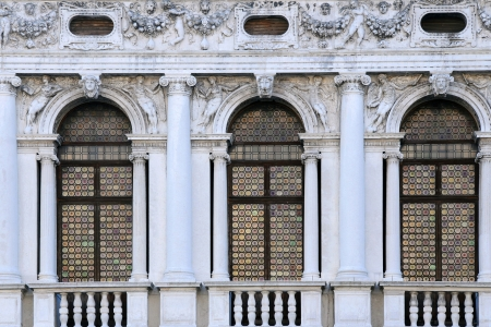 Windows of National Library of St Marks in Venice, Italy