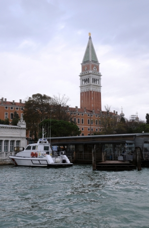 st  mark's: The Grand canal and Campanile of St.Marks Basilica on a gloomy day