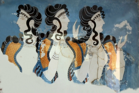 KNOSSOS, GREECE - MAY 08: Fresco Ladies in Blue in the Palace of Knossos outside Heraklion in Crete island, Greece May 08, 2010.