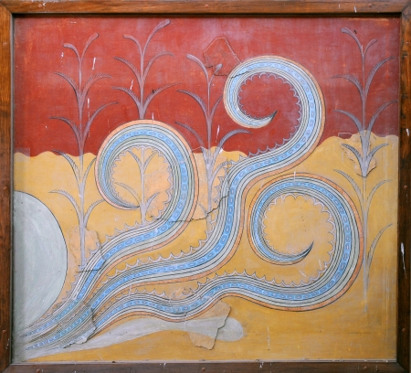 KNOSSOS, GREECE - MAY 08: Minoan fresco Octopus in the Palace of Knossos outside Heraklion in Crete island, Greece May 08, 2010.