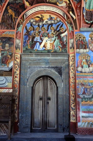 Door and wall-painting in the Rila monastery in Bulgaria