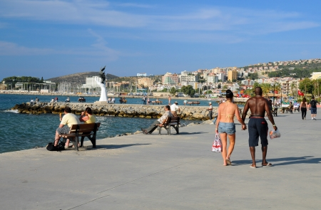 Promenade in the town of Kusadasi in Turkey
