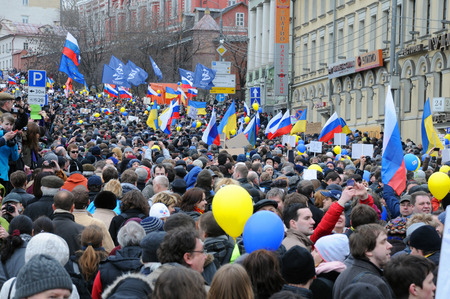 MOSCOW, RUSSIA � MARCH 15, 2014: Moscow peace rally against Crimean referendum and further occupation of the peninsula