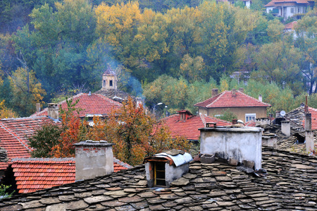 cluster house: Roofs of Old Town of Lovech in Bulgaria in the fall