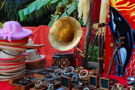 Bonnets, gramophone and other vintage stuff at the flea market in India