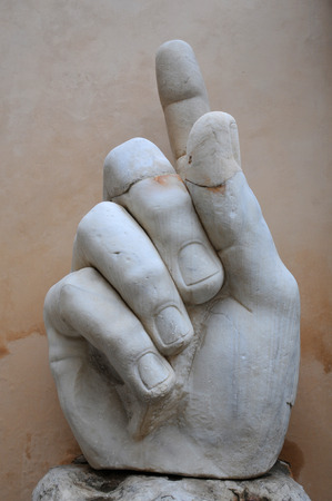 ROME, ITALY - MAY 2, 2014: Right hand of the statue of Colossus of Constantine in the Capitoline Museum