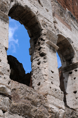 Detail of ancient Colosseum in Rome in Italy photo