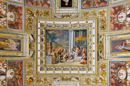 VATICAN � APRIL 29, 2014: Detail of the ceiling in one of the galleries of the Vatican Museums