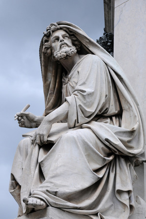 Statue of Isaiah by Salvatore Revelli at the base of the Column of the Immaculate Conception in Rome, Italy Stock Photo