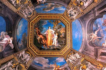 italian fresco: VATICAN � APRIL 29, 2014: Detail of the ceiling in one of the galleries of the Vatican Museums