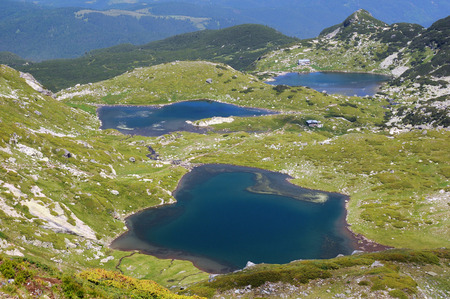 rocky mountain juniper: Aerial view of the Twin and the Fish lakes in the Seven Rila Lakes National park in Bulgaria