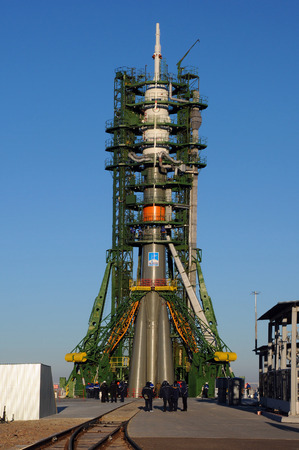 BAIKONUR, KAZAKHSTAN – NOVEMBER 21, 2014:  Soyuz TMA-15M on the launch pad at Baikonur cosmodrome in preparation for the flight to ISS two days later. Crew: Shkaplerov (commander), Virts, Cristoforetti