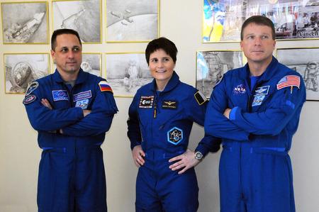 soyuz: BAIKONUR, KAZAKHSTAN � NOVEMBER 19, 2014: ISS Expedition 4243 crewmembers A.Shkaplerov (left), S.Cristoforetti (center) and T.Virts in the Cosmonanuts Museum