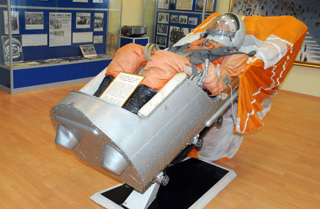 helmet seat: BAIKONUR, KAZAKHSTAN � NOVEMBER 19, 2014: Vostok spacecraft ejection seat with mannequin in the Space Museum