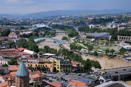 tragic: TBILISI, GEORGIA � JUNE 13, 2015: View of Tbilisi from Narikala fortress less than 12 hours before the tragic flood on June 14 Stock Photo