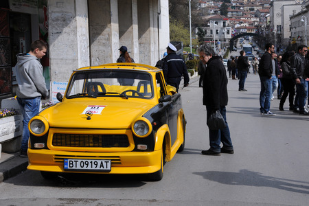 tarnovo: VELIKO TARNOVO, BULGARIA - MARCH 19, 2016: Convertible East German Trabant car in the street of the city