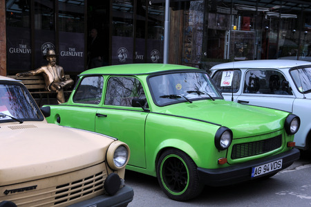 veliko tarnovo: VELIKO TARNOVO, BULGARIA - MARCH 19, 2016: East German Trabant cars in the street of the city during Trabant Fest event