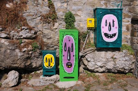 graffito: VELIKO TARNOVO, BULGARIA - AUGUST 20, 2016: Creative graffiti in General Gurko Street