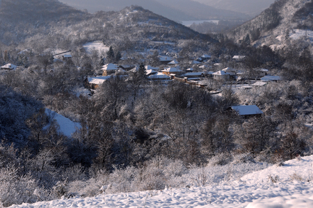 View of the mountain village in Stara Planina in Bulgaria in the winter Stok Fotoğraf