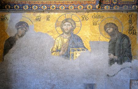 ISTANBUL, TURKEY - JANUARY 13, 2018: Mosaic board of Jesus Christ with Virgin Mary and John the Baptist inside Hagia Sophia