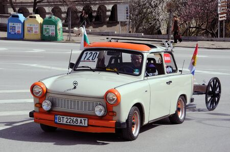 VELIKO TARNOVO, BULGARIA - MARCH 16, 2019: Vintage Trabant minicar during Trabant fest in the town Editorial