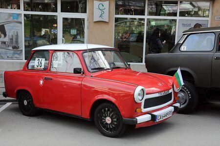 VELIKO TARNOVO, BULGARIA - MARCH 16, 2019: Vintage Trabant minicar during Trabant fest in the town