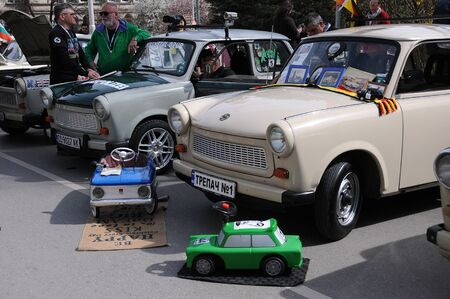 VELIKO TARNOVO, BULGARIA - MARCH 16, 2019: Vintage Trabant minicars and toy cars during Trabant fest in the town Editorial