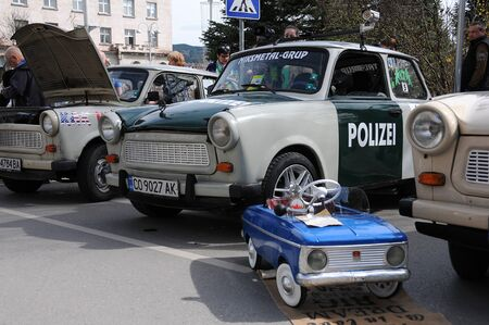VELIKO TARNOVO, BULGARIA - MARCH 16, 2019: Vintage Trabant minicars and toy cars during Trabant fest in the town