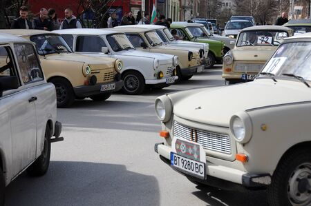 VELIKO TARNOVO, BULGARIA - MARCH 16, 2019: Vintage Trabant minicars during Trabant fest in the town
