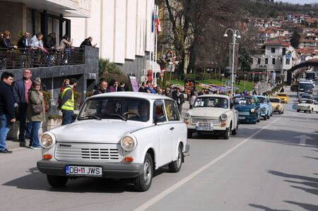 VELIKO TARNOVO, BULGARIA - MARCH 16, 2019: Vintage Trabant minicars during Trabant fest in the town Editorial