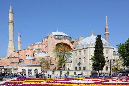 ISTANBUL, TURKEY APRIL 24, 2019: View of Hagia Sophia museum in the springtime Redakční