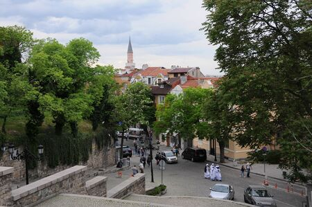 PLOVDIV, BULGARIA - MAY 4, 2019: View of Old Town of the city - European capital of culture 2019