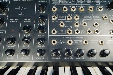 jacks: vintage analog synthesizer and keyboard Stock Photo