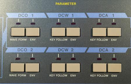parameter: Detail vintage digital synthesizer parameter section Stock Photo