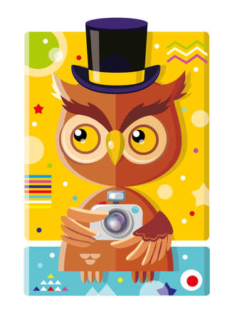clever cute owl photographer in retro hat with camera Ilustracja