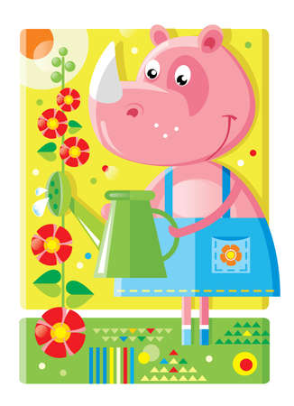 Cheerful cute girl rhinoceros watering flowers in the garden from a watering can