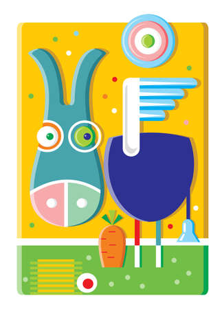 Multicolored cute donkey with wings looks at a carrot