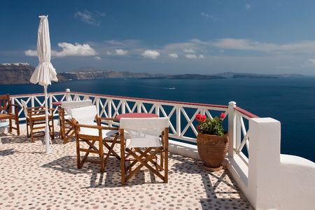 Beautiful view from balcony on the Santorini island Stock Photo