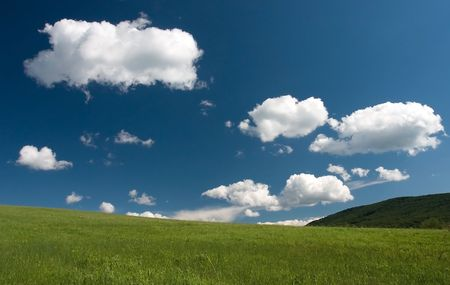 Beautiful european summer landscape with white clouds Stock Photo - 1356924