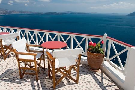 Beautiful view from balcony on the Santorini island Standard-Bild