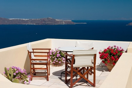 Beautiful view from balcony on the Santorini island Standard-Bild