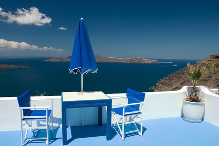 Beautiful view from balcony on the Santorini volcano