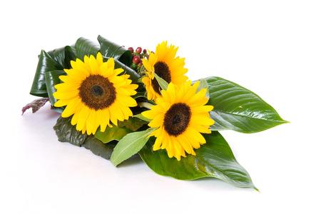 Sunflowers table decoration isolated on white background Stock Photo