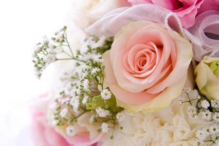 wedding background decoration with beautiful pink rose Stock Photo