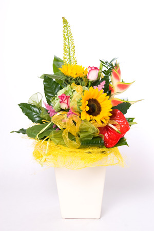 Flowerpot full of variety colorful flowers  photo