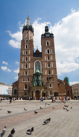Beautiful summer view of Mariacki Church in Cracow, Poland